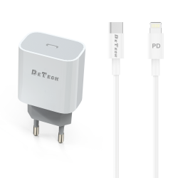 Зарядно за телефон USB Type-c 20W С Кабел Type-C към Lightning, Бял  ( iphone 12/pro / pro max )