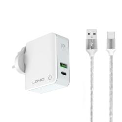 Зарядно устройство за Apple ( заместител ) LDNIO A4403C,  30W ,1xUSB, 1xType-C PD, С Type-C кабел, Бял