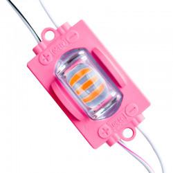 LED Модул със 3 диода PINK  12/24v - 1.4W IP68 Розов  ( със рефлектор Водоустойчиви )