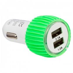 Зарядно за Кола за зареждане на Телефон Два изхода (12/24 Волта - 5 волта 1/2.1 ампера )