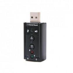 Външна звукова карта Hytech Mini USB 7.1, Черна